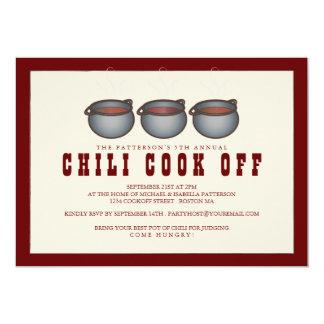 """Chili Pot Trio Chili Cook Off Party Invitation 5"""" X 7"""" Invitation Card"""