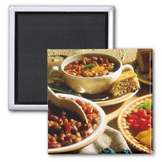 Chili with Cornbread Square Magnet