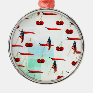 CHILIS AND CHERRIES AMERICANA Silver-Colored ROUND ORNAMENT