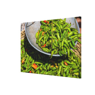 Chilis At Market For Sale Canvas Print