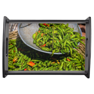 Chilis At Market For Sale Serving Tray