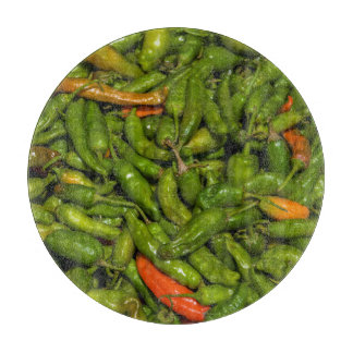 Chilis For Sale At Market Cutting Board