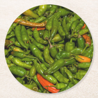 Chilis For Sale At Market Round Paper Coaster