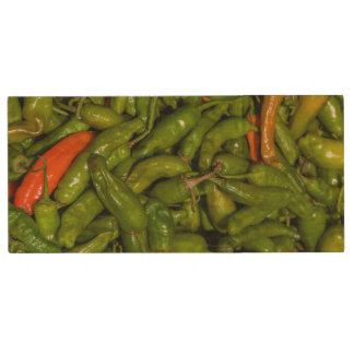 Chilis For Sale At Market Wood USB Flash Drive