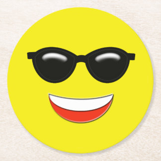 Chill Emoji Round Paper Coaster