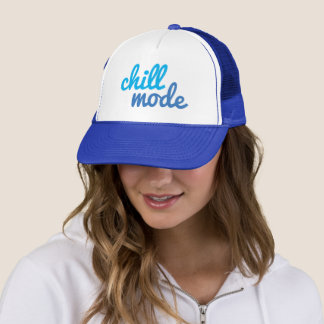 Chill Mode Turquoise/Blue Script Type Trucker Hat