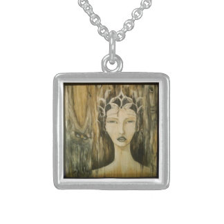 CHill Original Art Gold Pendant: Queen Méabh Sterling Silver Necklace
