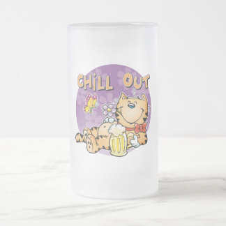 Chill Out Cat Frosted Glass Beer Mug