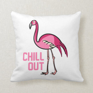 Chill Out Flamingo Throw Pillow