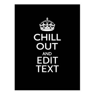 Chill Out for Your Text with Keep Calm Crown Black Postcard