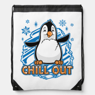 Chill Out Penguin Drawstring Bag