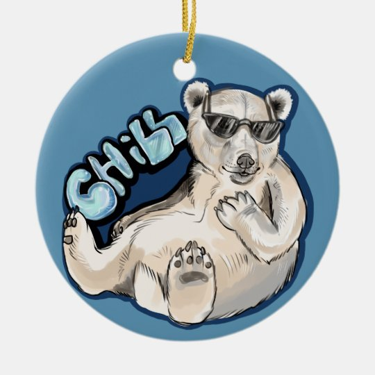 Chill Polar Bear Ceramic Ornament