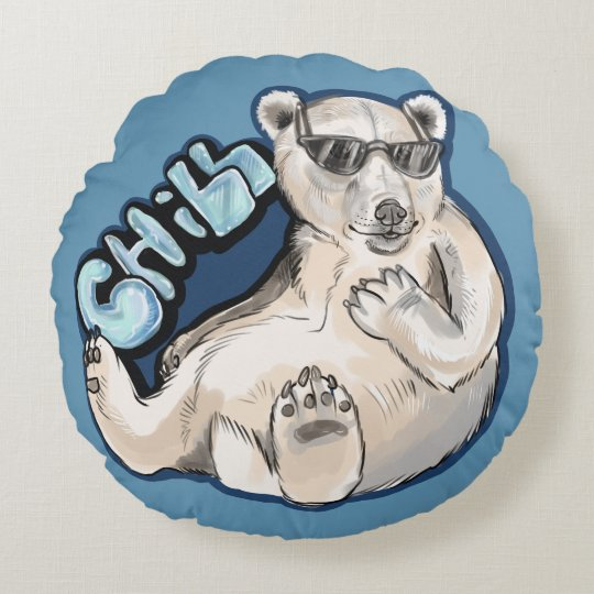 Chill Polar Bear Round Pillow
