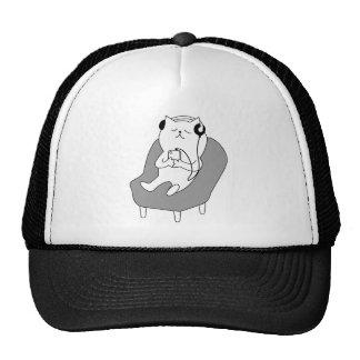 chill relax music head phones cat -1833150_920_721 trucker hat