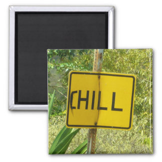 "Chill sign, ""Hill"" road sign manipulated Magnet"