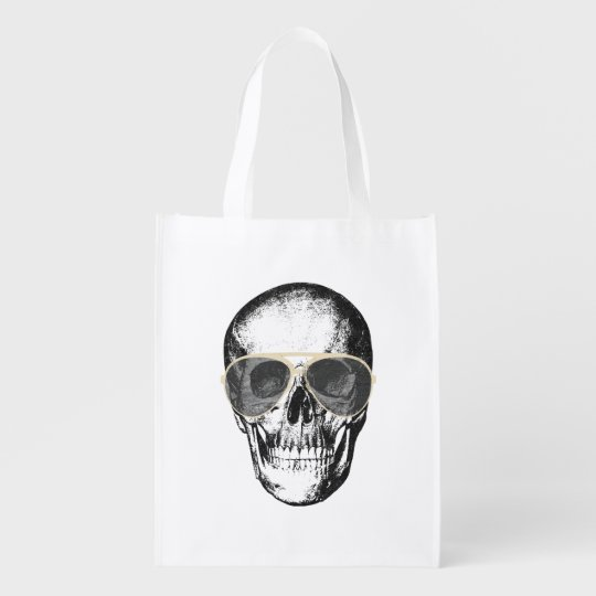 Chill Skull Vintage Sunglasses Grocery Bags