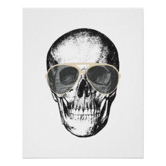Chill Skull Vintage Sunglasses Perfect Poster