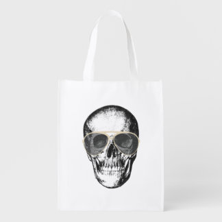 Chill Skull Vintage Sunglasses Reusable Grocery Bag