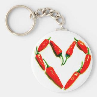 chilli heart basic round button keychain