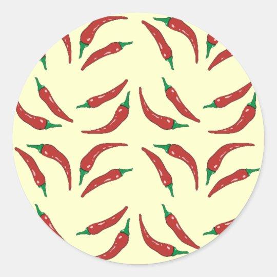 chilli pepper, cookery classic round sticker
