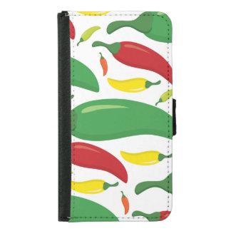 Chilli pepper pattern samsung galaxy s5 wallet case