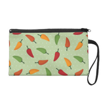 Chilli pepper pattern wristlet