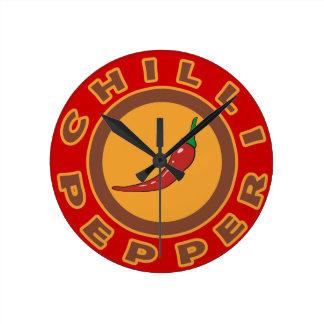 chilli pepper. spice wallclocks