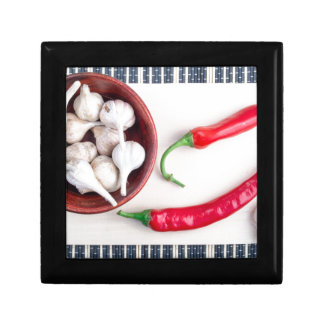 Chilli peppers and garlic in a wooden bowl keepsake box