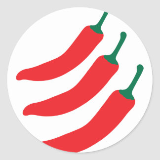 Chilli Red Hot Three Peppers Round Sticker