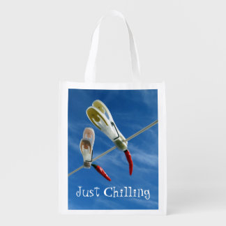 Chillies on the Washing Line Reusable Bag Grocery Bags