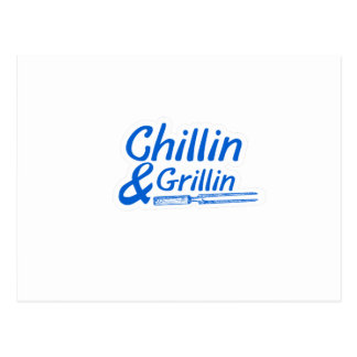 Chillin & Grillin Summer BBQ Holidays Party Family Postcard