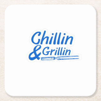 Chillin & Grillin Summer BBQ Holidays Party Family Square Paper Coaster