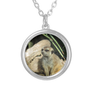 chillin meerkat silver plated necklace