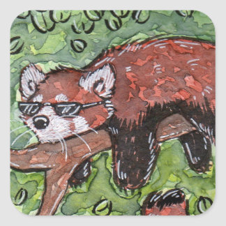Chillin' Red Panda Square Sticker