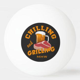Chilling & Grilling custom monogram pingpong balls Ping-Pong Ball