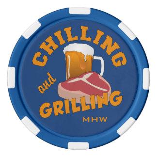 Chilling & Grilling custom monogram poker chips