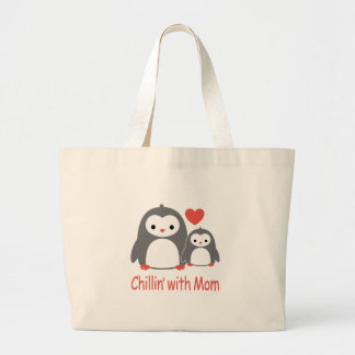 chilling with Mom, cool loving cartoons Large Tote Bag