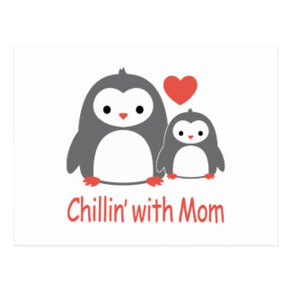 chilling with Mom, cool loving cartoons Postcard