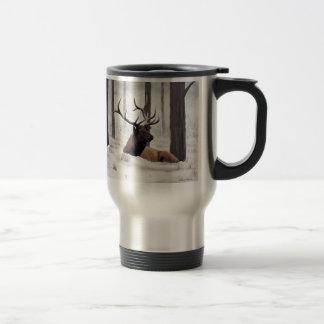 'Chilly' Bull Elk in Snow Travel Mug