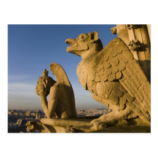 Chimera on facade of Notre Dame Cathedral, Postcard