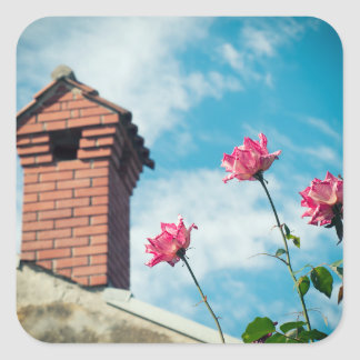 Chimney and wild roses square sticker