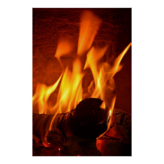 Chimney fire, heating fire-place, poster
