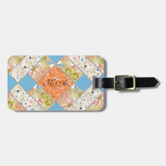 Chimney Quilt Block Mongrammed Luggage Tag