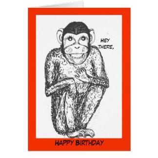 Chimp birthday card. card