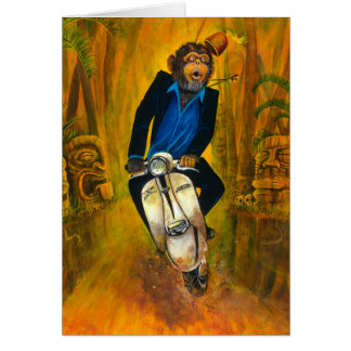 Chimp On A Lambretta Greeting Card