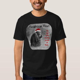Chimpanzé mignon de Noël ; Vilain ou Nice ? ? T Shirts
