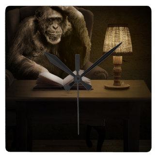 Chimpanzee Ape Monkey Square Wall Clock
