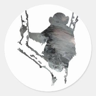 chimpanzee art classic round sticker