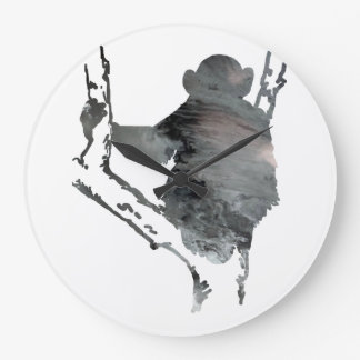 chimpanzee art large clock
