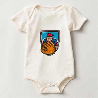 Chimpanzee Baseball Catcher Glove Shield Retro Baby Bodysuit